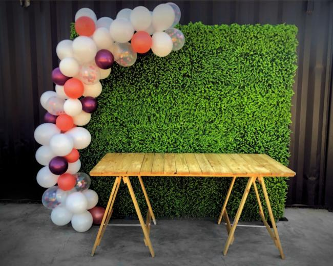 hedge-wall-with-balloons-and-table